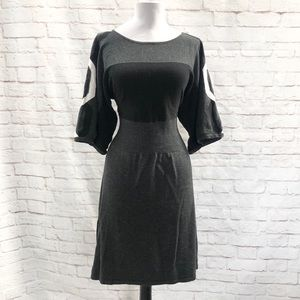 SPENSE Kimono Sleeve Sweater Dress M Gray Black